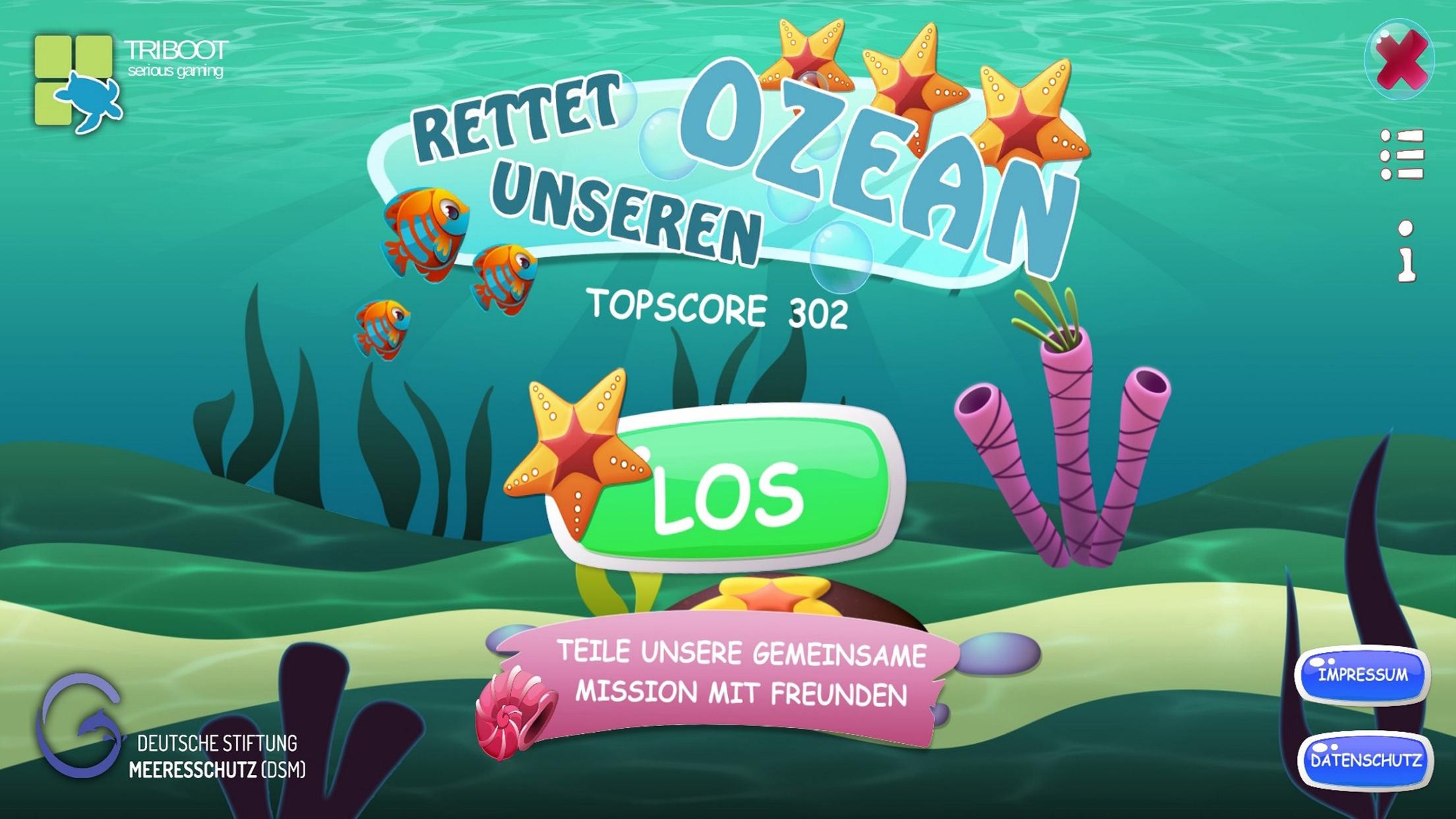 Rettet unseren Ozean Startbildschirm